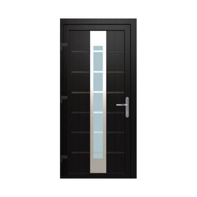 Porte d'entrée pvc Geom Numerus gris 80 x h.215 cm poussant droit