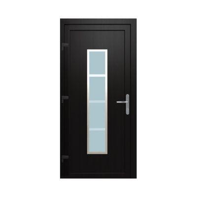 Porte d'entrée pvc Geom Deltoid gris 90 x h.215 cm poussant droit
