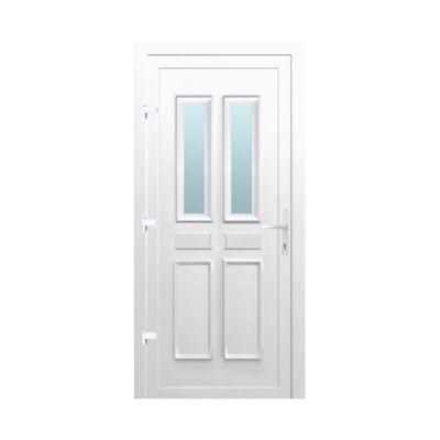 Porte d'entrée pvc Geom Abscis blanc 90 x h.215 cm poussant droit