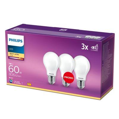 Lot 3 ampoules LED 7W 60W E14 Blanc chaud Philips