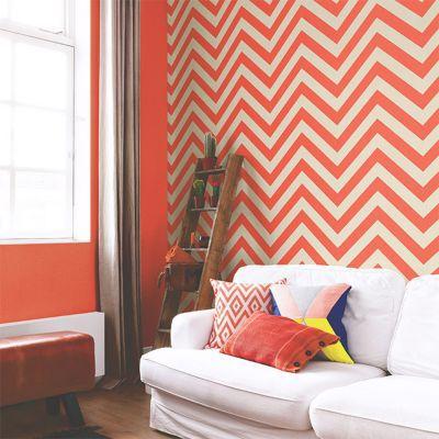 Papier Peint Expanse Sur Intisse Lutece Art Chevron Orange Castorama
