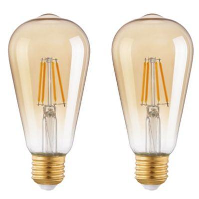 Lot 2 ampoules LED filament E27 ST64 4W blanc chaud ambrée