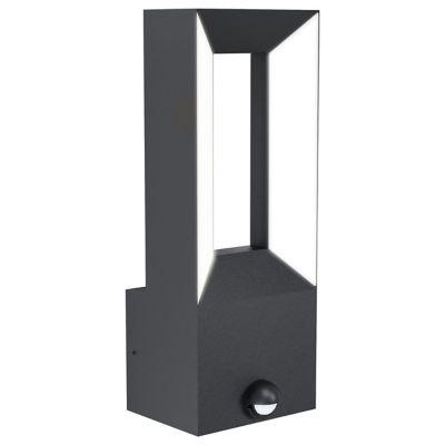 Applique à détection LED intégrée Riforano noir IP44 550lm
