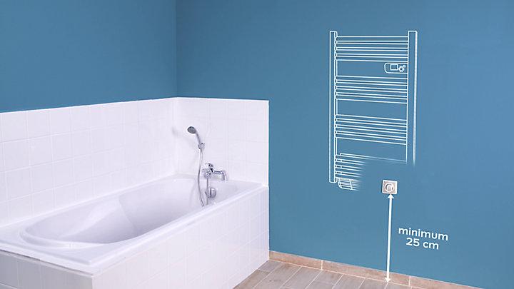 comment installer un s che serviettes lectrique castorama. Black Bedroom Furniture Sets. Home Design Ideas