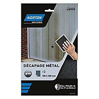 Abrasif de finition métal Norton 180 x 280 mm, 3 pièces