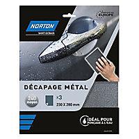 Abrasif métal imperméable 230 x 280 mm Norton - Grain 240, 3 pièces