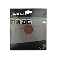 Abrasif pour ponceuse excentrique Universal ø 150 mm, Grain 80 - 5 pièces