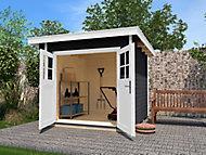 Abri de jardin bois Weka toit plat anthracite, 7,95 m² ép.28 mm