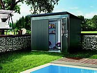 Abri de jardin métal Biohort Avantgarde A7 gris foncé, simple porte, 7,8 m², ép.0,53 mm