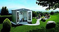 Abri de jardin métal Biohort Europa T4 gris quartz, 5,56 m² ép.0,53 mm