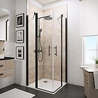 Accès d'angle droit avec porte de douche battantes, 80 x 80 cm, Schulte, NewStyle, verre transparent anticalcaire, profilés noirs