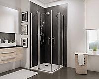 Accès d'angle droit avec porte de douche battantes, 90 x 90 cm, Schulte, NewStyle, verre transparent anticalcaire