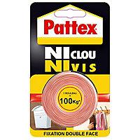 Adhésif de fixation Pattex Ni clou ni vis, 100 kg - 1.5 m x 19 mm