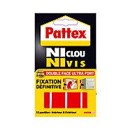 Adhésif de fixation Pattex Ni clou ni vis, 12 pastilles - 5 x 1.9 cm