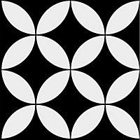Adhésif Draeger la carterie fleur graphique noir et blanc 15 x 15 cm