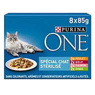 Aliment pour chat stérilisé One bœuf poulet saumon dinde 8 x 85g