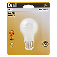 Ampoule LED Diall GLS E27 4,9W=40W blanc chaud