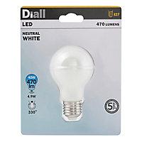 Ampoule LED Diall GLS E27 4,9W=40W blanc neutre