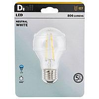 Ampoule LED à filament Diall GLS E27 6,5W=60W blanc neutre