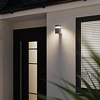 Applique extérieure LED Delvin Cylindre 800lm 10W IP44 13.6x10cm Argent