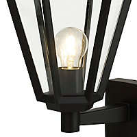 Applique extérieure Radley 6 faces Hexagonale E27 IP44 46.6x24cm Noir