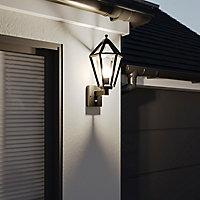Applique extérieure Radley Pir 6 faces avec détecteur de mouvement Hexagonale E27 IP44 49.5x24cm Noir