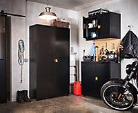 Armoire basse de garage en métal noir