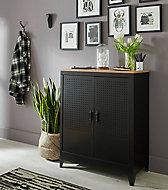 Armoire basse en métal coloris noir mat avec plateau effet chêne