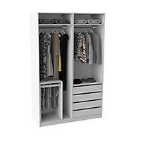 Armoire Darwin 4 tiroirs avec portes battantes L 150 cm x P 56 cm x H 235 cm coloris blanc