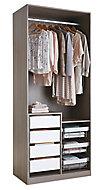 Armoire Darwin 4 tiroirs L 100 cm x P 56 cm x H 200 cm coloris chêne cendré et blanc