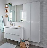Armoire de salle de bains GoodHome Imandra blanc L.80 x H.90 x P.15 cm