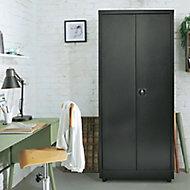 Armoire haute en métal 40 x 80 x 180 cm noir