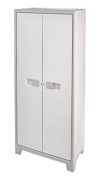 Armoire Haute Universelle Blanc 4 Tablettes Rangement Balais Major L 80 X H 182 X P 44 Cm Castorama