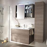 Armoire miroir décor chêne clair Cooke & Lewis Calao 90 cm
