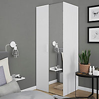 Armoire penderie blanche portes battantes miroir et blanches GoodHome Atomia H. 187,5 x L. 75 x P. 60 cm