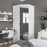 Armoire penderie d'angle blanche avec porte battante miroir GoodHome Atomia H. 225 x L. 100 x P. 89 cm