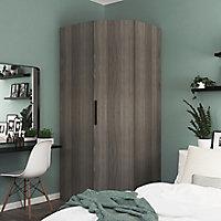Armoire penderie d'angle effet chêne grisé avec porte battante GoodHome Atomia H. 225 x L. 100 x P. 89 cm