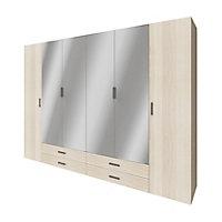 Armoire penderie portes battantes miroir et tiroirs effet chêne GoodHome Atomia H. 225 x L. 300 x P. 60 cm
