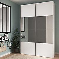Armoire penderie portes coulissantes blanches et miroir GoodHome Atomia H. 225 x L. 150 x P. 63,5 cm