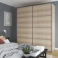 Armoire penderie portes coulissantes effet chêne GoodHome Atomia H. 225 x L. 150 x P. 63,5 cm