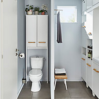 Armoire WC GoodHome Ladoga blanc L. 60 x H. 190 x P. 15 cm