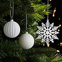 Assortiment de décorations de noël blanches (50 pièces)