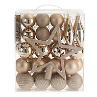 Assortiment de décorations de noël champagne, 50 pièces