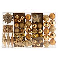 Assortiment de décorations de noël dorées, 100 pièces