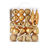 Assortiment de décorations de noël dorées (50 pièces)