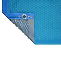 Bâche à bulles été bleue argent bordée 4 côtés (vendu au m²)