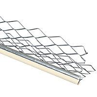 Baguette d'angle extérieur en acier galvanisé avec cordon PVC gris 3000x35x35mm