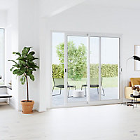 Baie coulissante alu GoodHome blanc - l.180 x h.215 cm - Uw 1,7
