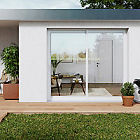 Baie coulissante alu GoodHome blanc - l.210 x h.215 cm - Uw 1,7