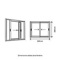 Baie coulissante PVC GoodHome gris - 240 x h.200 cm - Uw 1,5